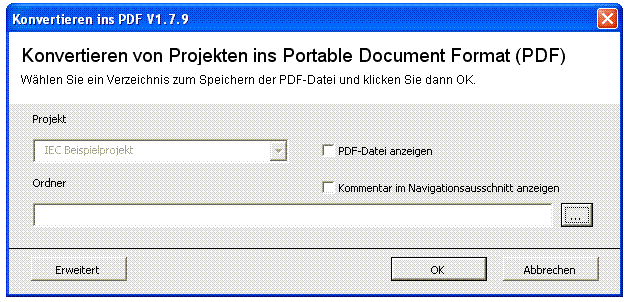 Converting projects into Portable Document Format (PDF)