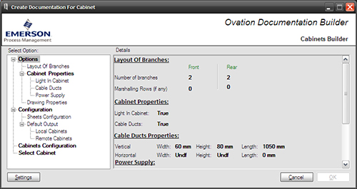 Emerson Process Management - Screenshot Ovation Documentation Builder with Engineering Base